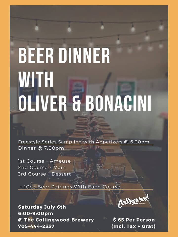 OB Blue Mountain and Collingwood Brewery Beer Dinner